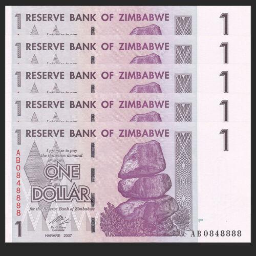 UNC Zimbabwe 1 Dollar P-65 2007 Lot 5 PCS
