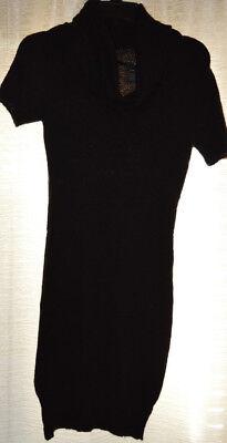 New Ladies Black Jumper Tunic Dress size S M L XL Womens Cowl Neck Short Sleeved