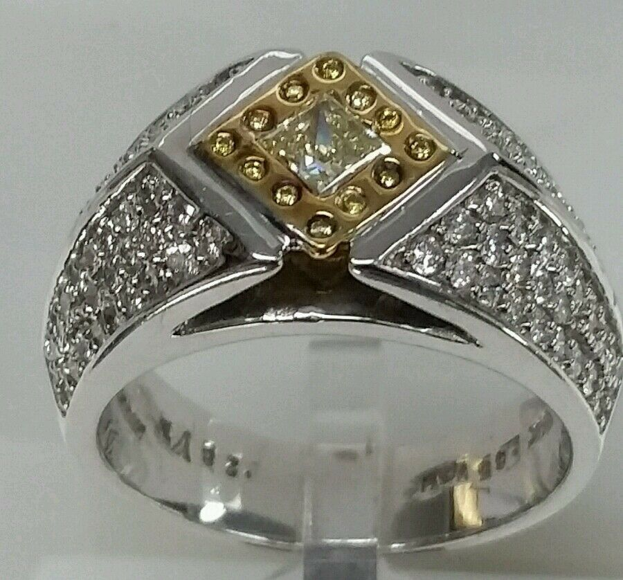 14k white gold engagement 1.13cttw 0.28ct fancy yellow diamond 0.85ct vs side di