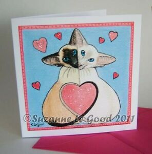 Siamese-cat-art-painting-Valentines-card-glitter-original-design-Suzanne-Le-Good
