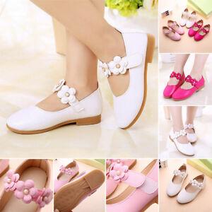 Elegante-Nina-Ninos-De-La-Boda-Baile-De-Fiesta-Piel-Sintetica-Zapatos-Caminar