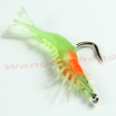 Lot 60mm 3g Noctilucent Soft Silicone Fish Prawn Shrimp Fishing Lures Hook Bait