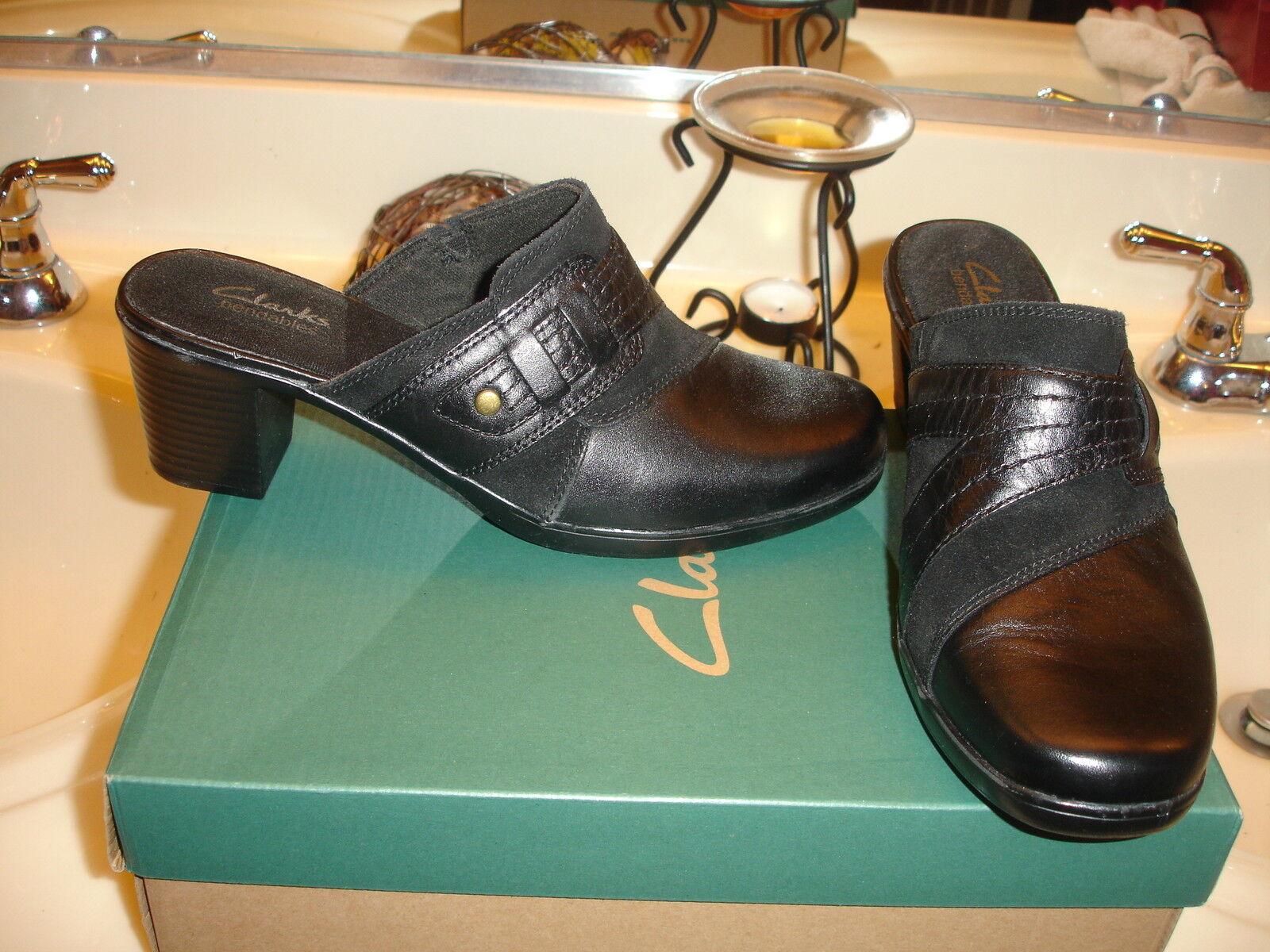 Clarks régimen ámbar Negro Sandalia De Cuero De De De Diapositiva Mula Zapato 8  95 Calidad  promocionales de incentivo
