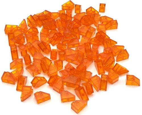 Lego 100 New Trans-Orange Slope 45 2 x 1 Sloped Pieces