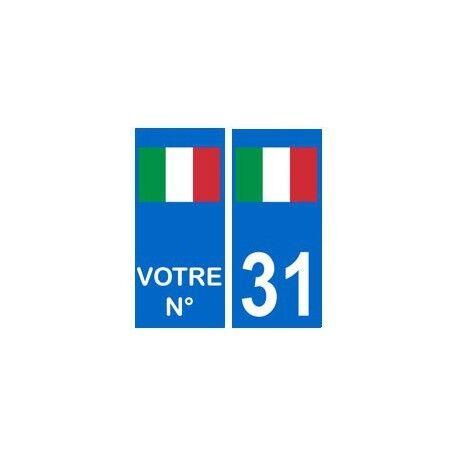 Italie numéro choix autocollant plaque -  Angles : arrondis