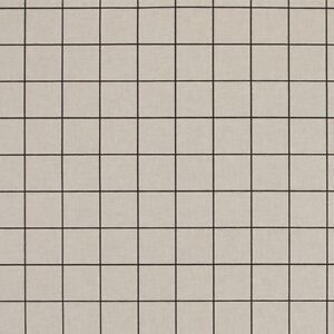 Black On Natural Square Grids Lines Cotton Linen Look Upholstery Fabric