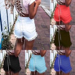 UK-Girls-Women-High-Waist-Casual-Stretch-Shorts-Ladies-Tassel-Summer-Short-Pants