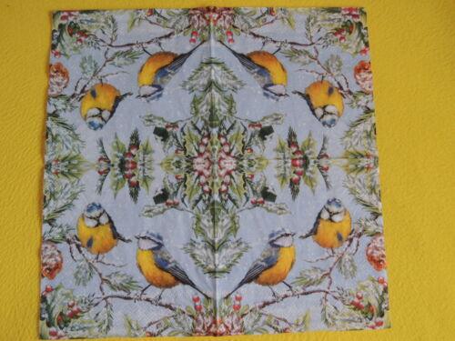 5 serviettes Meisen OISEAUX HIVER Chirping Birds serviettes technique des branches de neige