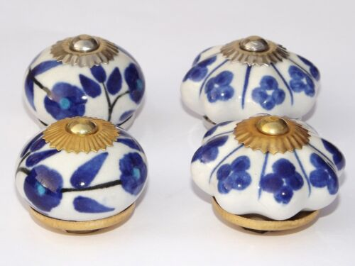 Choice of 4 Blue White Ceramic Porcelain Door Knob Handle Drawer cupboard pull