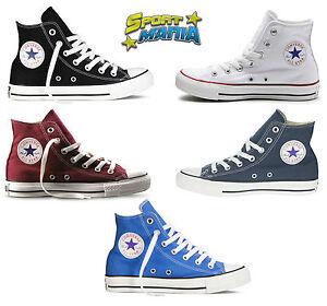 Converse All Star Hi Scarpe Bianco Nero Blu Bordeaux Sportive Sneakers Shoes