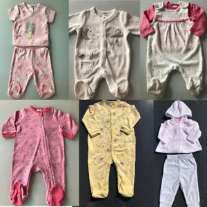 Baby-Maedchen-Strampler-Schlafanzug-Winter-Rosa-Rot-Weiss-Girl-Baumwolle