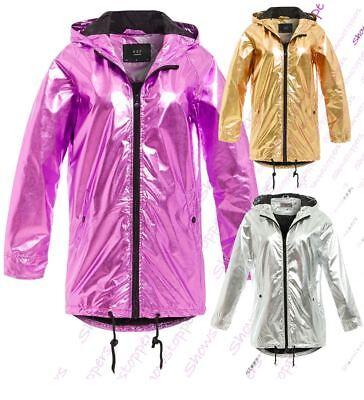 Festival Rain Coat Metallic Pink Mac Hooded Iridescent Jacket Zipper Rainmac