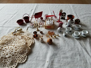 DOLLHOUSE-MINIATURES-ACCESSORIES-SMALLS-MIXED-LOT-APPROX-30-PIECES