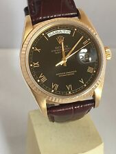 Rolex 18K Yellow Gold Day-Date President 18038 Black Dial Rolex Buckle