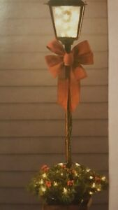4ft lighted lamp post w bow yard sculpture indoor outdoor for Christmas decorations for outside lamp post