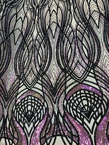 Black mesh w/white sequins lace mesh fabric 50 width sold