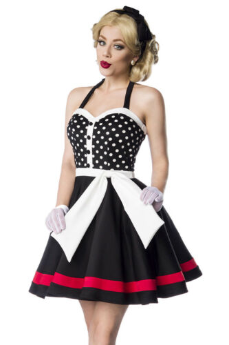 Mit L Größe 50er Ausschnitt Neckholder Rockabilly Jahre Kleid Herzförmigem Retro xqHnvw