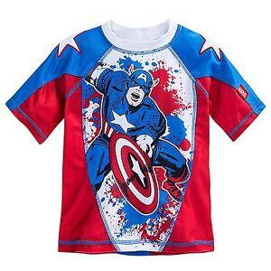 Marvel Captain America Boys Size 4 White Rash Guard Swim Shirt UPF 50 New