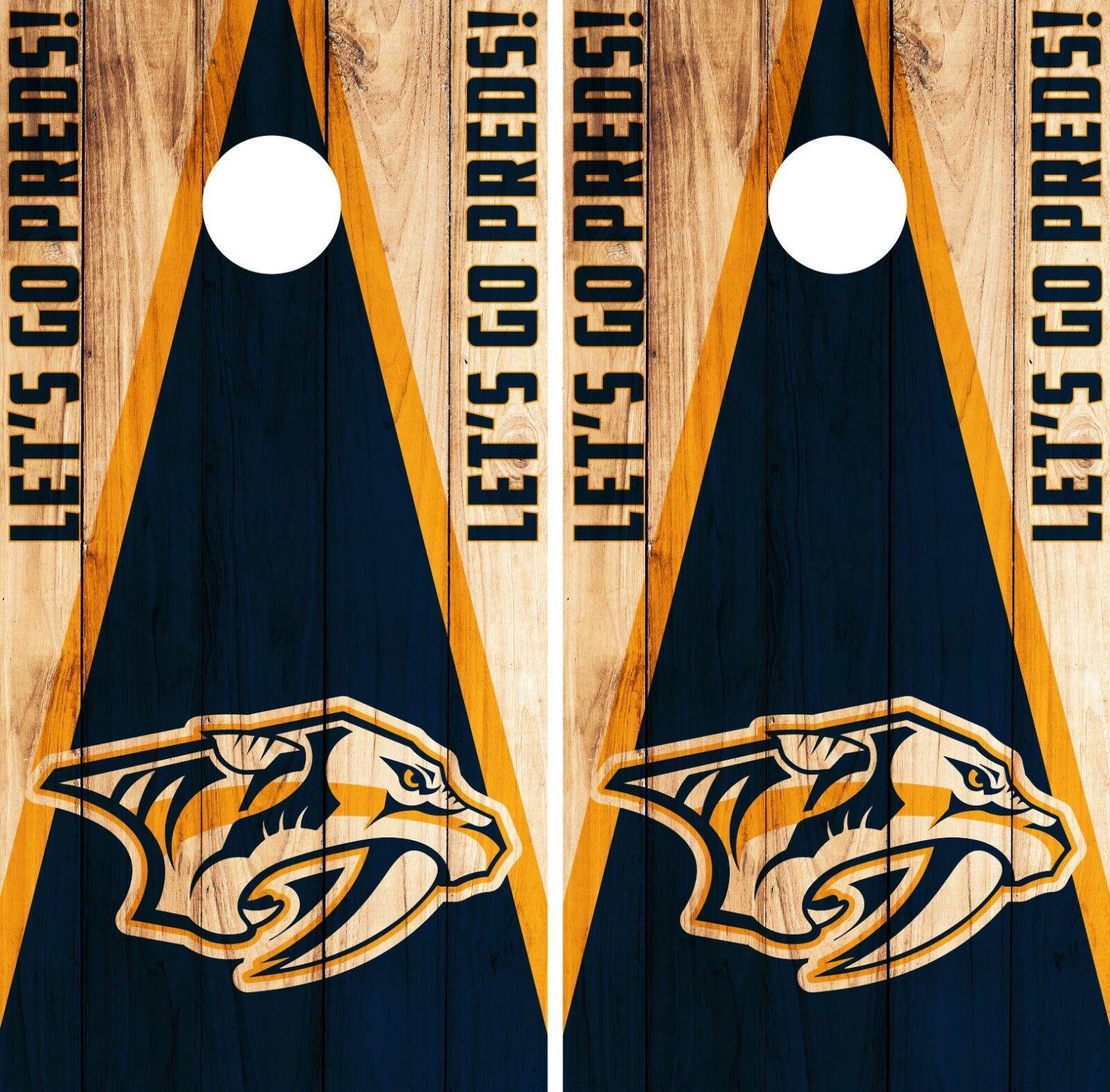 Nashville Predators Cornhole Wrap NHL Game  Board Skin Set Vinyl Decal Art CO354  choose your favorite