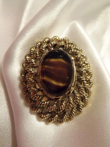 INCREDIBLE Vintage ORNATE Gold Setting TIGER EYE G