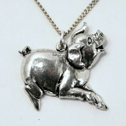TS Handmade Gift Boxed Pig Lovers Necklace in Fine English Pewter