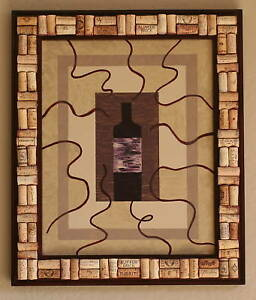 Wine Bottle Painting With Wine Cork Frame Ebay