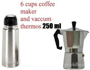 Details about Stove Top Coffee Maker Espresso cuban 6 Cups Cafetera Cubana  and Thermos 250 ml