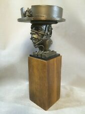 Theodore Ted Gall Bronze Lost Wax Sculpture Hat Box Surreal Head Bust