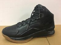 UNDER ARMOUR NBA MVP CURRY 1 LUX MID LEATHER TRIPLE BLACK GUM 1296616-001