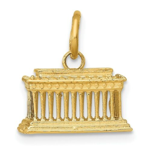 14K Or Jaune Lincoln Memorial Charm 13x12mm 1.99 G