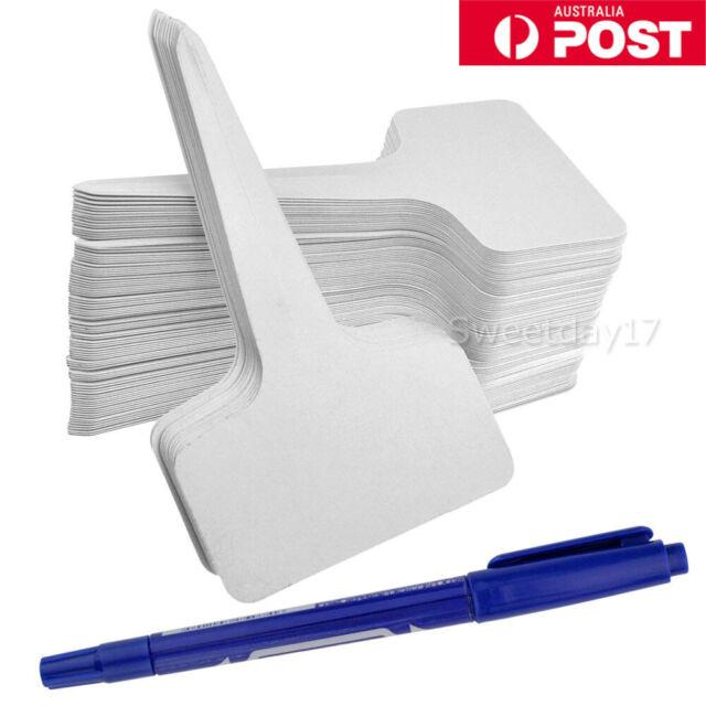 500pcs Plastic Plant T-type Tags Markers Nursery Garden Labels + 2 Marker pen AU