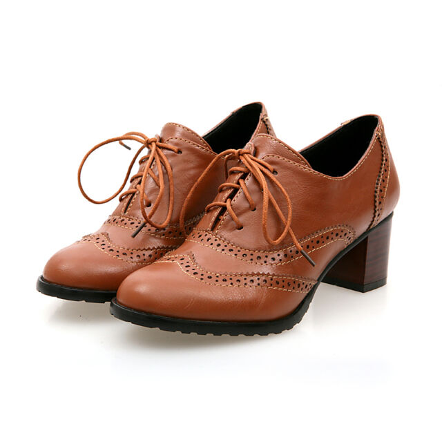 Retro Stylish Brogues Lace Up Shoes Womens Oxford Chunky Heels Shoes Plus Size