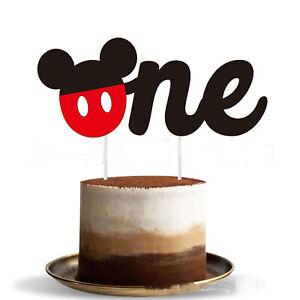 Awesome Mickey Mouse 1St Birthday One Cake Topper Bunting Cupcake Pick Personalised Birthday Cards Veneteletsinfo