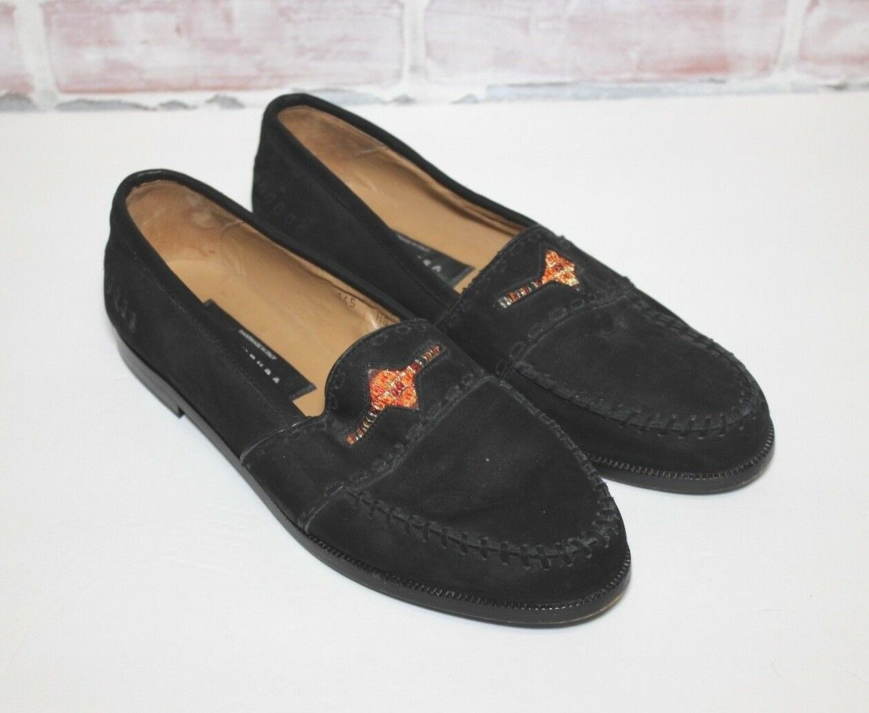 Avventura  Mens Size 8 Black Leather Suede Aztec Loafers shoes Handmade