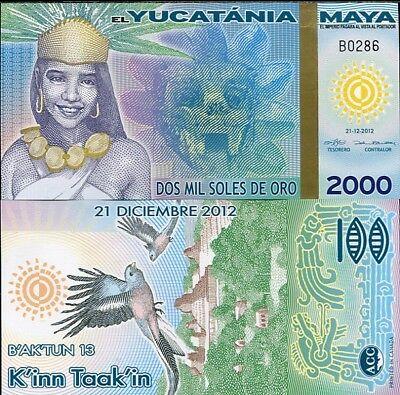 MAYA YUCATANIA 2000 2,000 MIL SOLES DE ORO 2012//2013 FANTASY POLYMER