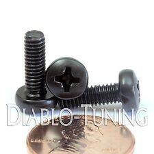 M4 x 12mm - Qty 10 - Phillips Pan Head Machine Screws - DIN 7985 A - Black Steel