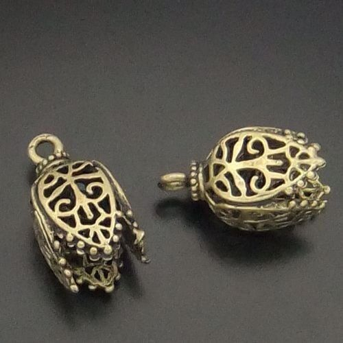 05745 Antique Style Bronze Tone Brass Flower Cup Pendant Jewelry Finding 8pcs