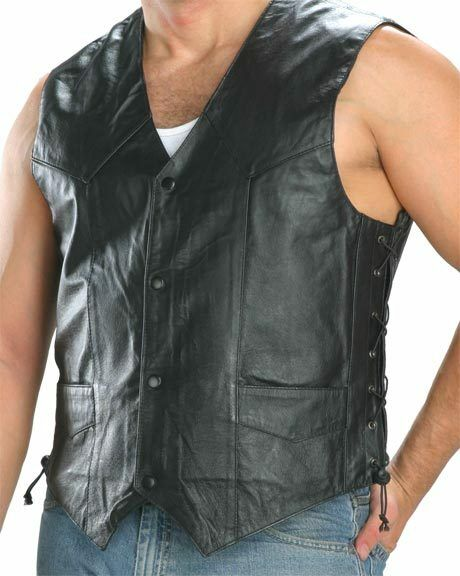 201L Men's Soft Nappa Leather 4 Button, Side Lace Motorcycle Vest