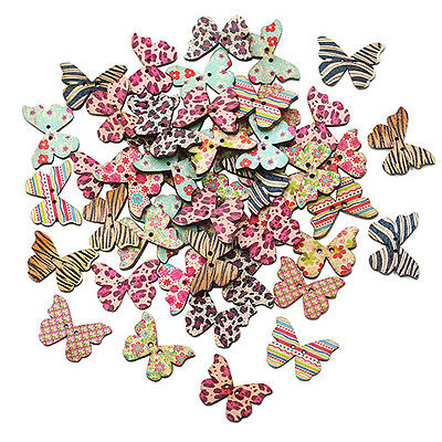 FINE GLARING 50PCS MIXED 2 HOLES BUTTERFLY SEWING SCRAPBOOK CRAFT DECOR BUTTONS