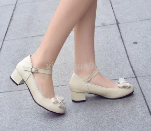 2017 Women/'s Sweet Lolita Low Heels buckle pu leather shoes Plus Size Bowknot