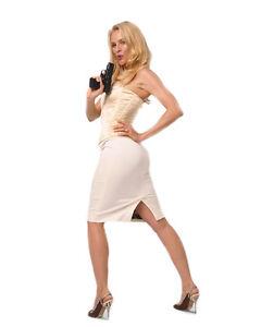 fd8ecf2040e3 Image is loading NICOLLETTE-SHERIDAN-SEXY-HOT-WHITE-DRESS-GUN-POSING-