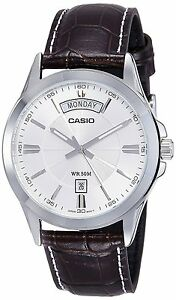 Casio MTP1381L-7A Men's Standard Leather Band Classic Silver Dial Day Date Watch 79767984687