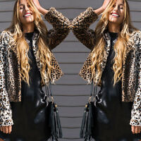 M-XXL Womens Leopard Color Warm Faux Fur Short Jacket Coat Outwear Overcoat