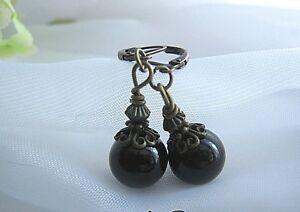 Pearl-Earrings-Czech-Glass-Beads-Dangle-Bronze-Leverback-JET-BLACK-VINTAGE-STYLE