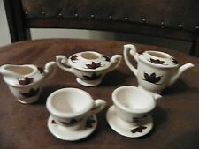 Mini Doll Tea Set 7 pc tea pot sugar creamer 2 cups & saucers brown leaf design