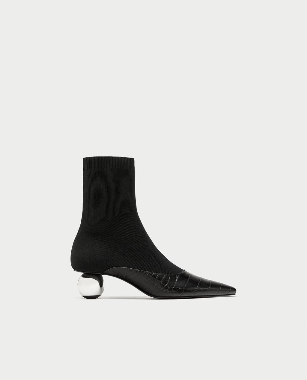 Zara Women Stretch Ankle Boots With Rounded High Heels Black Size 6 NWT