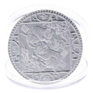 Year-of-the-Rat-Commemorative-Coin-Chinese-Zodiac-Souvenir-Coins-Silver-Plat-UR