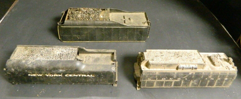 Vintage Lot of (3) Coal Tender Car Bodies New York Central, Lionel & Metal V.G.