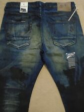 PRPS BARRACUDA Straight Smeared Paint Dark Blue Men Jeans 42 x 34 Orig.$300+SALE