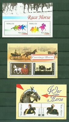 Tuvalu 2011 - Pferde - Postkutsche Einspänner Rennpferde - Block 176 - 177 - 178 Exquisite Traditionelle Stickkunst